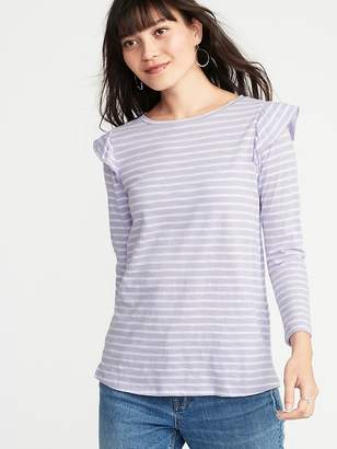 Old Navy Relaxed Ruffle-Trim Slub-Knit Top for Women