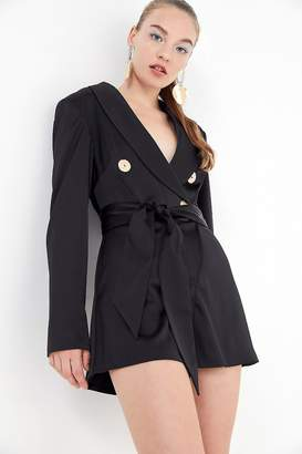 Finders Keepers Pompeii Plunging Wrap-Front Romper