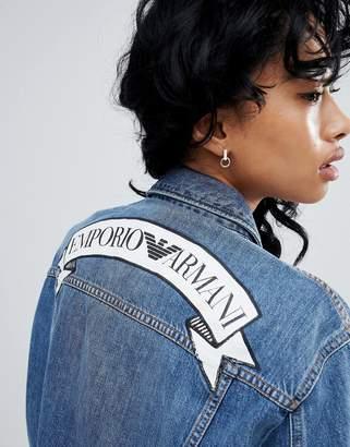 Emporio Armani Statement Banner Logo Denim Jacket