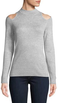 MICHAEL Michael Kors Mock-Neck Cutout-Shoulder Long-Sleeve Metallic-Knit Sweater