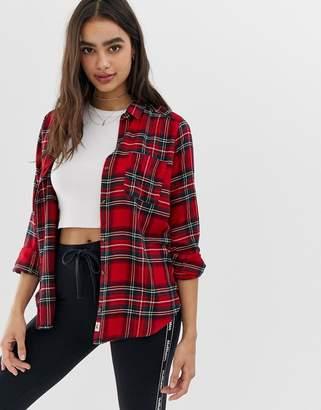 Hollister oversized flannel boyfriend shirt in check