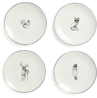 4pk Holiday Animals Plates