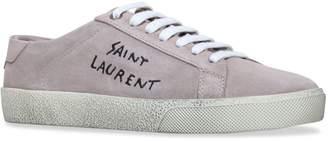 Saint Laurent Suede Court Distressed Sneakers
