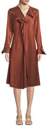 Palmer Harding palmer//harding Dusk Twill Portrait-Neck Midi Dress