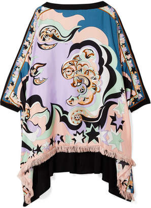 Emilio Pucci Edie Fringed Printed Silk-twill And Chiffon Top - Lilac