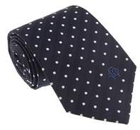 Roberto Cavalli Esz035 04500 Navy Blue 100% Silk Herringbone Polka Dot Tie