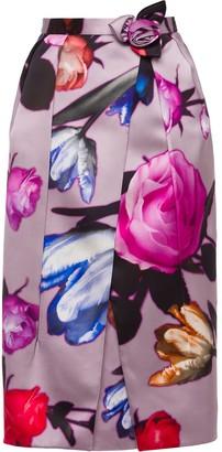 Prada printed floral pencil skirt