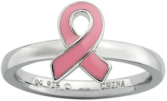 Stacks & Stones Sterling Silver Pink Breast Cancer Awareness Ribbon Stack Ring