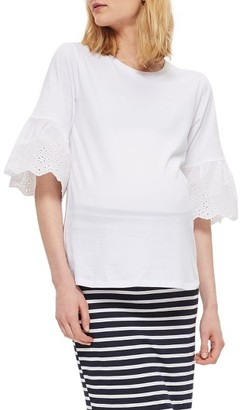 Women's Topshop Layered Eyelet Sleeve Maternity Tee $50 thestylecure.com