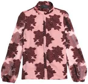 Co Floral-Print Devore-Velvet Wool-Blend Top