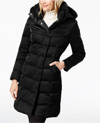 T Tahari Hooded Faux-Fur-Trim Puffer Coat