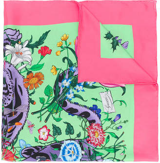 Gucci floral tiger print scarf