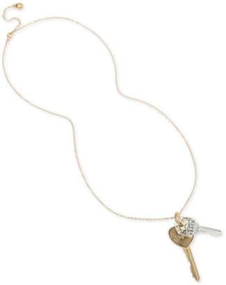 "BCBGMAXAZRIA Two-Tone Crystal Peace & Love Key Pendant Necklace, 30"" + 3"" extender"
