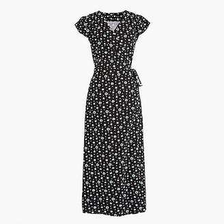J.Crew Tall Mercantile easy wrap dress in blue-and-white daisies