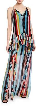 Caroline Constas Isla Watercolor Stripe Ruffle Halter Maxi Dress