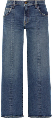 Current/Elliott - The Wide-leg Crop Mid-rise Jeans - Dark denim $250 thestylecure.com