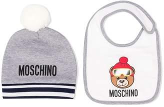 Moschino Kids Teddy Bear beanie and bib set