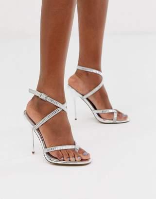 Barely There Asos Design ASOS DESIGN Hooked embellished heeled sandals