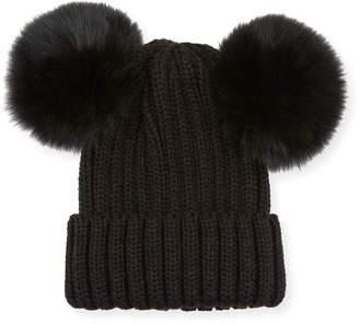 Adrienne Landau Knit Beanie w\/ Double Fur Pompoms