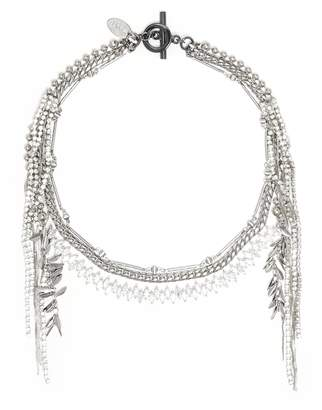 Venna Glass crystal multi chain fringe necklace