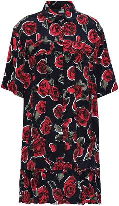 Love Moschino Floral-print Crepe Mini Shirt Dress