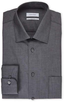 Calvin Klein Charcoal Regular Fit Solid Dress Shirt