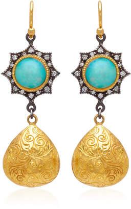 Arman Sarkisyan 22K Gold Opal And Diamond Earrings