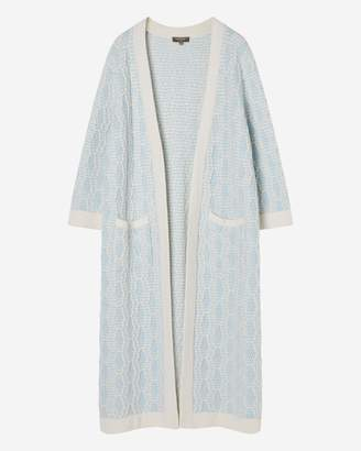 N.Peal Longline Textured Cashmere Cardigan