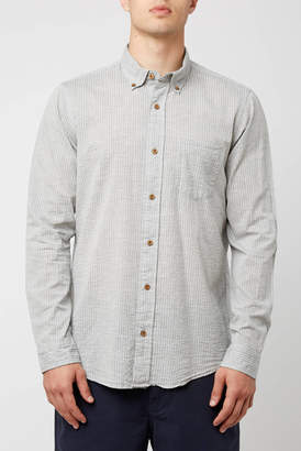 Tailor Vintage Seersucker Striped Long Sleeve Button Down Shirt