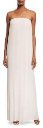 Rachel Gilbert Strapless Pleated Column Gown