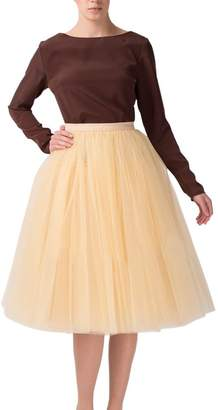 Sarahbridal Women's Midi Tutu Tulle Skirt A Line Knee Length Skirts Bridal Petticoat Underskirt