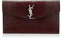 Saint Laurent Women's Uptown Monogram Croc-Embossed Leather Pouch