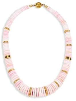 Lizzie Fortunato Alabaster 18K Goldplated Conch Shell& Onyx Collar Necklace