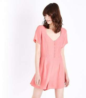 New Look Coral Button Front Lace-Up Back Playsuit