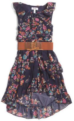 Big Girls Ruffle Front Dress With Snap Back Belt
