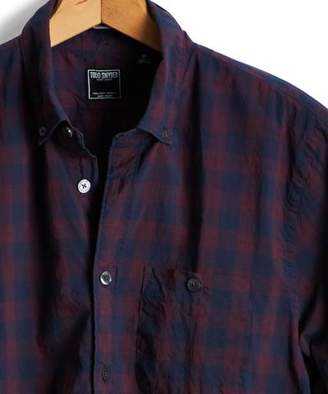 Todd Snyder Slim Fit Plaid Button Down Shirt in Burgundy