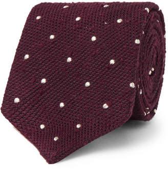 Drakes Drake's 8cm Polka-Dot Slub Silk Tie