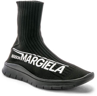 Maison Margiela High Top Sock Sneaker in Black | FWRD