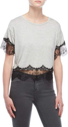 Almost Famous Eyelash Lace Trim Boxy Tee