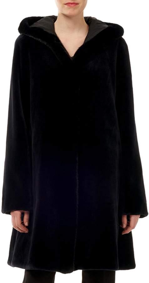 Sheared Mink-Fur Reversible Silk Taffeta Hooded Coat