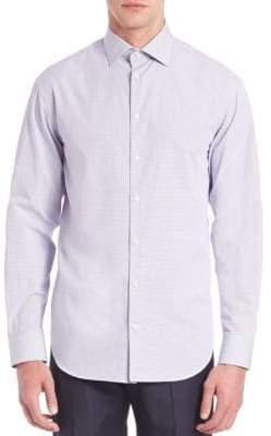 Giorgio Armani Modern-Fit Checked Cotton Dress Shirt