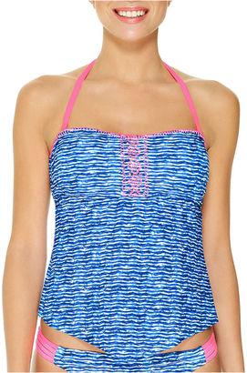 ARIZONA Arizona Geo Linear Tankini Swimsuit Top-Juniors $36 thestylecure.com