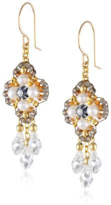 Miguel Ases Fresh Water Pearl 14k Gold Filled 3-Drop Dangle Earrings