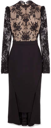 Alexander McQueen Open-back Lace And Wool-crepe Dress - Black