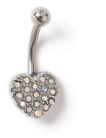 Miss Selfridge Rhinestone heart belly bar
