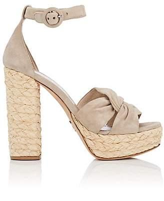 Prada Women's Suede Espadrille Platform Sandals - Corda