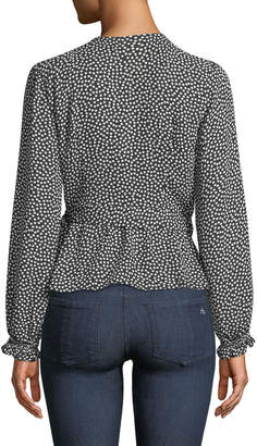 Max Studio Long-Sleeve Dotted Wrap Top