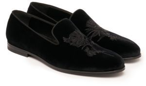 Alexander McQueen Embroidered Velvet Loafers $840 thestylecure.com