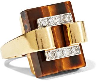 Fred Leighton - 1970s 18-karat Gold, Diamond And Tiger's Eye Ring