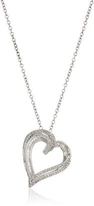Sterling Silver Diamond Heart Pendant Necklace (1/4 Cttw